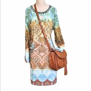 Chico's Turquoise and Gold Medallion Print Dress